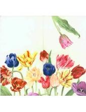 """Салфетка для декупажа """"Тюльпаны разноцветные"""", 33х33 см, Германия"""