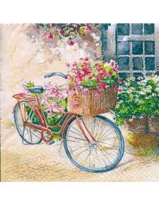 """Салфетка для декупажа """"Велосипед с цветами"""", 33х33 см, Германия"""