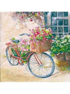 Салфетка для декупажа Велосипед с цветами, 33х33 см, Home Fashion Германия