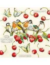 """Салфетка для декупажа """"Птицы и черешня"""", 33х33 см, Германия"""
