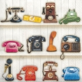 """Салфетка для декупажа """"Старинные телефоны"""", 33х33 см, Германия"""