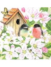 "Салфетка для декупажа ""Птицы на цветущей яблоне"", 33х33 см, Германия"
