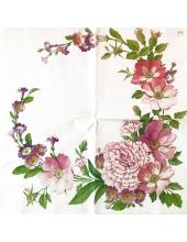 """Салфетка для декупажа """"Розовые цветы"""", 33х33 см, Германия"""