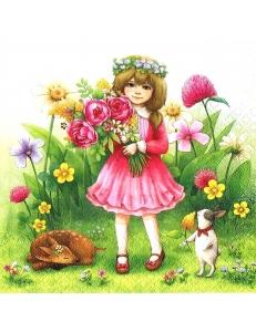 """Салфетка для декупажа """"Девочка с цветами"""", 33х33 см, Германия"""