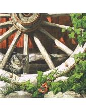 """Салфетка для декупажа """"Котёнок и старое колесо"""", 33х33 см, Германия"""
