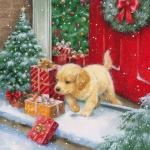 """Салфетка для декупажа HF33304280 """"Рождественский щенок"""", 33х33 см, Ambiente (Голландия)"""
