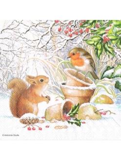 Новогодняя салфетка для декупажа Белочка и птичка, 33х33 см, Ambiente Голландия