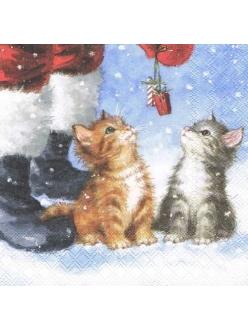 Салфетка новогодняя для декупажа Два маленьких подарка, 33х33 см