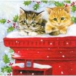 """Салфетка для декупажа HF33304960 """"Рождественские котята"""", 33х33 см, Ambiente (Голландия)"""