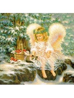 Салфетка новогодняя для декупажа Маленький ангел, 33х33 см, Ambiente Голландия