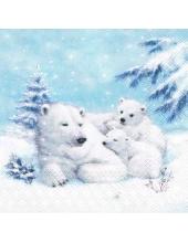 "Салфетка для декупажа HF33305120 ""Белые медведи"", 33х33 см, Ambiente (Голландия)"