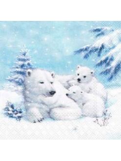 Салфетка новогодняя для декупажа Белые медведи, 33х33 см, Ambiente Голландия