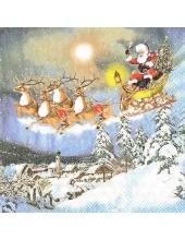 """Салфетка для декупажа """"Санта на оленьей упряжке"""", 33х33 см, Ambiente (Голландия)"""