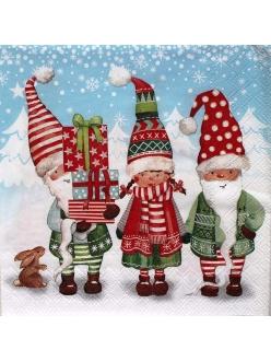 Новогодняя салфетка для декупажа Рождественские гномы, 33х33 см, Ambiente Голландия