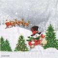 """Салфетка для декупажа """"Снеговик в волшебном лесу"""", 33х33 см, Ambiente (Голландия)"""