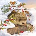 """Салфетка для декупажа """"Ёжик в снегу"""", 33х33 см, Ambiente (Голландия)"""
