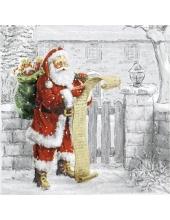 "Салфетка для декупажа ""Санта со списком желаний"", 33х33 см, Ambiente (Голландия)"