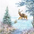 """Салфетка для декупажа """"Олени в зимнем лесу"""", 33х33 см, Ambiente (Голландия)"""