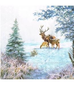 "Салфетка для декупажа ""Олени в зимнем лесу"", 25х25 см, Ambiente"