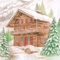 """Салфетка для декупажа """"Дом в горах"""", 33х33 см, Ambiente (Голландия)"""