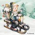 """Салфетка для декупажа """"Рождественская поездка"""", 33х33 см, Ambiente (Голландия)"""