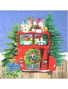 """Салфетка для декупажа """"Автомобиль с подарками"""", 33х33 см, Ambiente (Голландия)"""