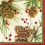 """Салфетка для декупажа """"Шишки и зимние ягоды"""", 33х33 см, Ambiente (Голландия)"""