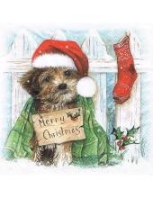 """Салфетка для декупажа """"Рождественский щенок"""", 33х33 см, Ambiente (Голландия)"""