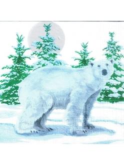 Салфетка новогодняя для декупажа Белый медведь, 33х33 см, Германия