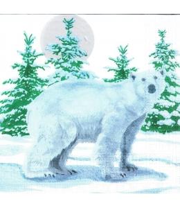 "Салфетка для декупажа ""Белый медведь"", 33х33 см, Германия"