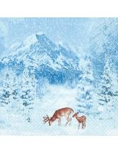 """Салфетка для декупажа """"Зимние горы и олени"""", 33х33 см, Германия"""