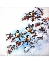 """Салфетка для декупажа """"Зимние птицы"""", 25х25 см, Германия"""