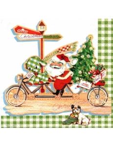 "Салфетка для декупажа ""Дед Мороз на велосипеде"", 33х33 см, Германия"
