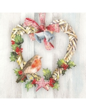 """Салфетка для декупажа """"Рождественский венок и птичка"""", 33х33 см, Германия"""