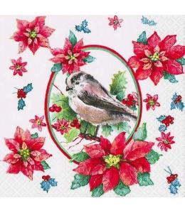 "Салфетка для декупажа ""Зимняя птица и пуансетия"", 33х33 см, Германия"