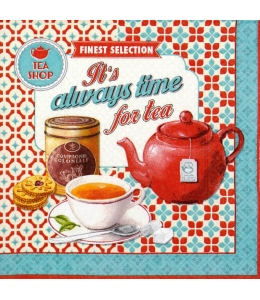 "Салфетка для декупажа ""Время для чая"", 33х33 см, Италия"