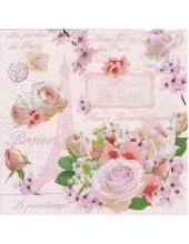 """Салфетка для декупажа HFARI """"Розы Парижа"""", 33х33 см, Италия"""