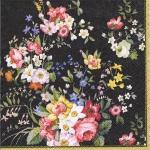 """Салфетка для декупажа """"Цветы на черном"""", 33х33 см, Италия"""