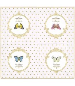 "Салфетка для декупажа ""Бабочки в рамке"", 33х33 см, Nuova R2S (Италия)"