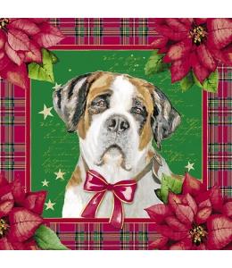 """Салфетка для декупажа """"Рождественские собаки"""", 33х33 см, Германия"""