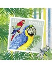 """Салфетка для декупажа """"Бразильские марки с попугаями"""", 33х33 см, Германия"""