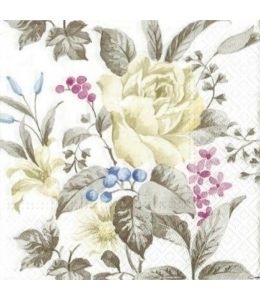 """Салфетка для декупажа """"Белые розы"""", 33х33 см, Польша"""