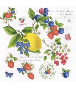 "Салфетка для декупажа ""Лимон и ягоды"", 33х33 см, Nuova R2S (Италия)"