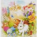"""Салфетка для декупажа HFTL335000 """"Кролики в цветах"""", 33х33 см, Германия"""