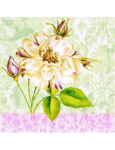 "Салфетка для декупажа ""Роза на салатовом"", 33х33 см, Paw"