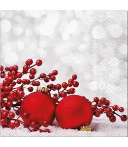 """Салфетка для декупажа """"Красные ягоды и шарики"""", 33х33 см, Paw (Польша)"""
