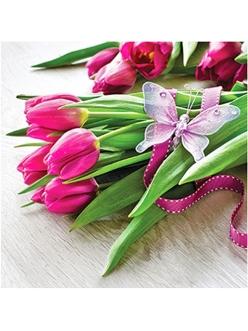 Салфетка для декупажа Букет тюльпанов, 33х33 см, Польша