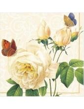 """Салфетка для декупажа """"Роза и бабочки"""", 33х33 см, Paw"""