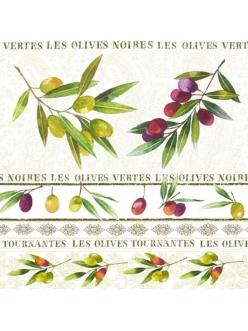 Салфетка для декупажа Оливки и орнамент, 33х33 см