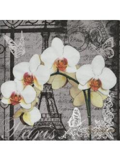 Салфетка для декупажа Париж и орхидея, 33х33 см